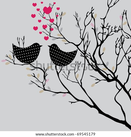 Valentine's  background with birds for you. vector illustration - stock vector