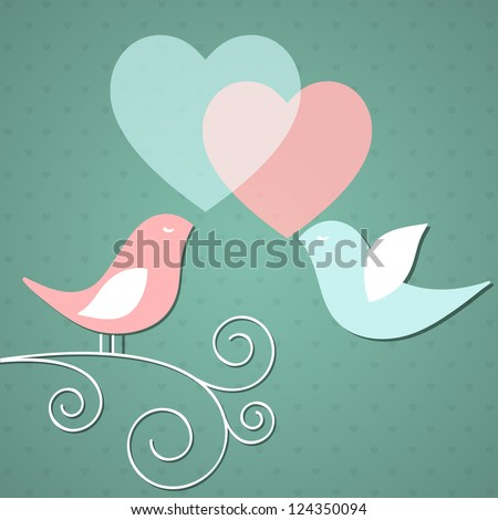Valentine's background with birds. Vector illustration.