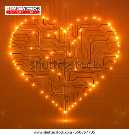 Valentine's background with circuit board on heart shape. Technology illustration. Vector. Eps 10