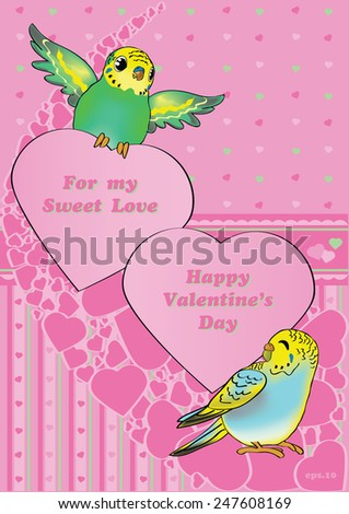 Valentine's Budgies. Vector cartoon style Birds (budgies/parrots) with Valentine's Day Greetings - stock vector
