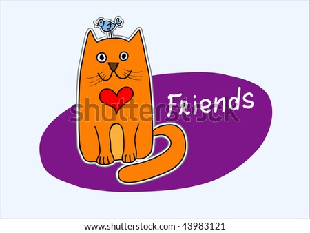 Valentine's card: cat and bird are best friends - stock vector