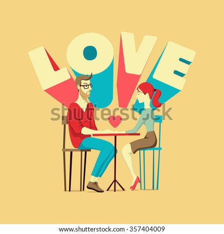 Valentine's card. Romantic scene with a couple in love. Young man and woman at the table. Vector illustration. - stock vector
