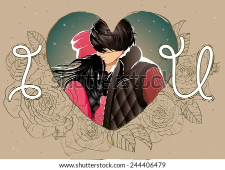 Valentine's card with a kissing couple, flowers and heart - stock vector