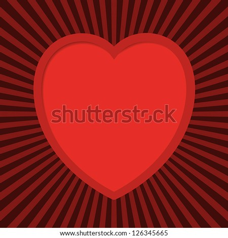 Valentine's card with cut out heart. EPS10 vector.