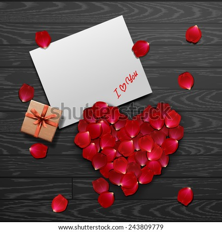 valentine`s card with red rose petals - stock vector