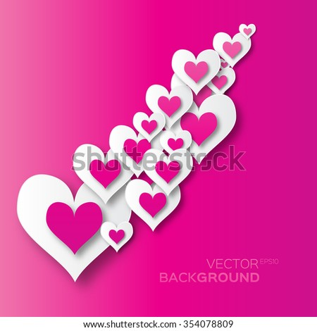 Valentine's day abstract applique background with cut pink and white paper hearts. Pop up Vector illustration