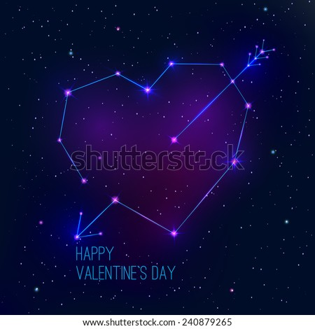 Valentine's day abstract background with a heart as a constellation. Vector illustration - stock vector