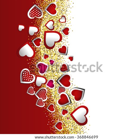 Valentine's day abstract background with red and white hearts
