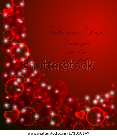 Valentine's Day, abstract background with red hearts, valentine postcard