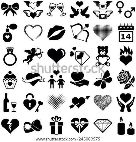 Valentine's Day and love icon collection - vector illustration  - stock vector