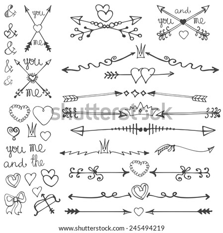 Valentine's Day and Wedding arrows set:Doodle hand drawn decor ,hearts,ornamental elements.Retro dividers,borders,design template.Vintage love vector.Outline kit.  - stock vector