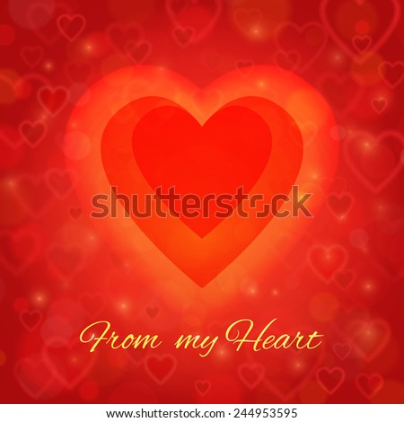 Valentine's Day and wedding romantic blurred heart vector background