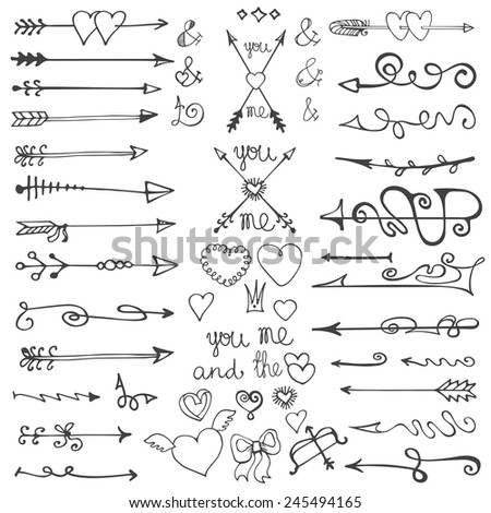 Valentine's Day and Wedding  set:Doodle hand drawn arrows ,hearts,ornamental elements for vector brush,design template,invitation,card.Vintage love vector.Outline kit.  - stock vector