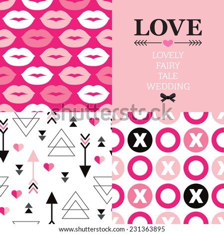 Valentine's day and wedding typography greeting card cover design and seamless love theme background pattern set in vector - stock vector
