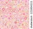 Valentine's day artistic red hearts vector seamless pattern - stock vector