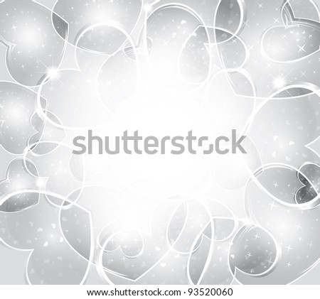 Valentine's day background - Elegant silver background from hearts - stock vector