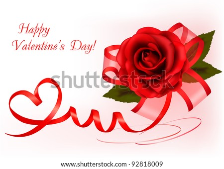 Valentine`s day background. Red rose with gift red bow. Vector illustration. - stock vector