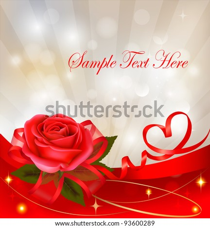 Valentine`s day background. Red rose with gift red bow. Vector illustration