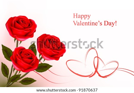 Valentine`s day background. Red roses and gift red bow. Vector illustration. - stock vector
