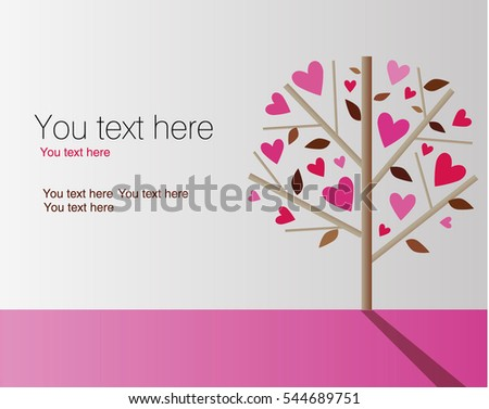 Valentine's day background with a tree made out of hearts. Vector.