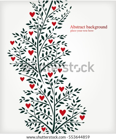 Valentine's day background with branches and hearts. Vector illustration