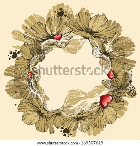 Valentine's Day background with flowers and hearts. Vector illustration. - stock vector