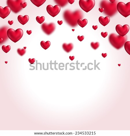 Valentine's day background with flying hearts. Vector illustration. Place for your text message. - stock vector
