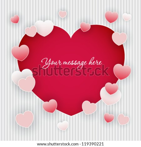Valentine's day background with frame from hearts - stock vector