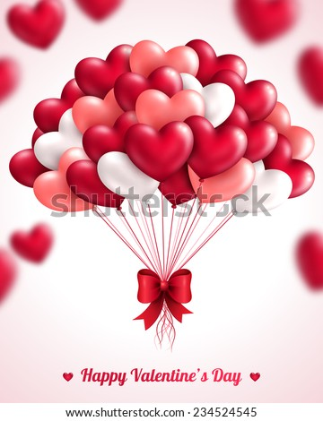 Valentine's day background with heart balloons. Vector illustration. Bunch of pink and red balloons. Festive background for Mothers day or Womans Day.