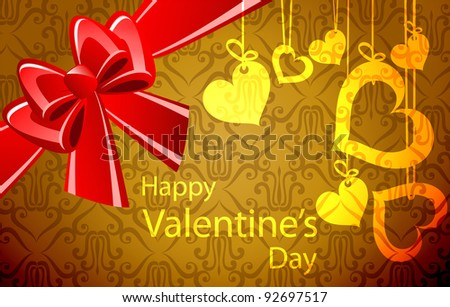 Valentine's day background with hearts - stock vector