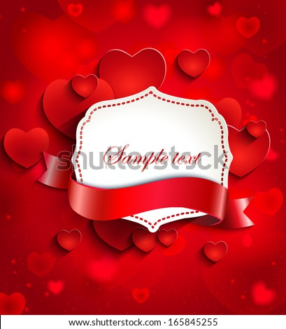 Valentine's day background with hearts and vintage frame and ribbon for text in paper style - stock vector