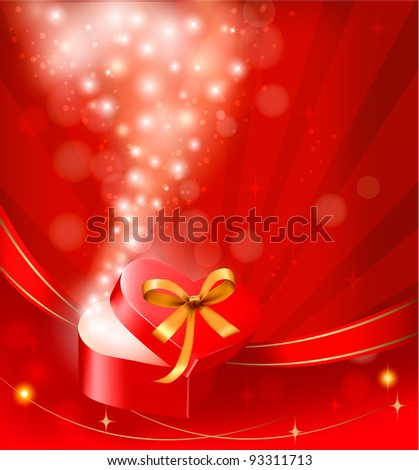 Valentine`s day background with open gift box. Vector.