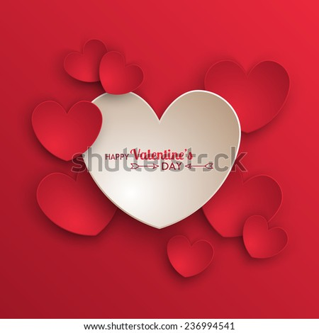 Valentine's day background with paper hearts - stock vector