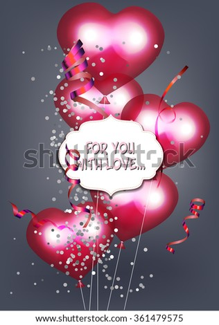 Valentine's Day background with pink heart shaped air balloons
