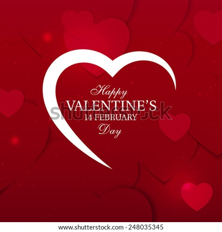 Valentine's Day background with Silhouette of Heart and Typography.  Greeting Card, Poster, Flyer or Invitation Design.