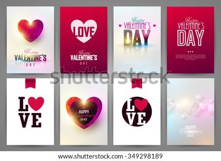 Valentine`s day backgrounds set. Vector illustration. - stock vector