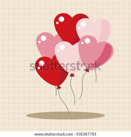 Valentine's Day balloons theme elements - stock vector