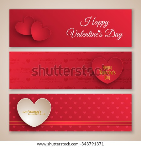 Valentine's day banner design with paper hearts. Vector illustration - stock vector