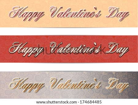 Valentine's day banner set of 3