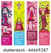 Valentine's Day banners with fashion girls, hearts, shopping bag, dog, lots of Valentine's decorations. With space for your text. - stock vector