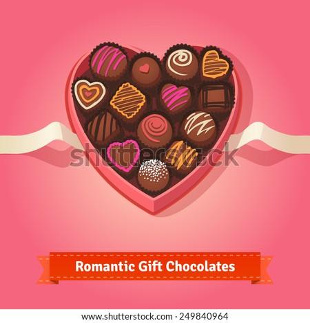 Valentines Day Birthday Chocolates Heart Shaped Stock Vector ...