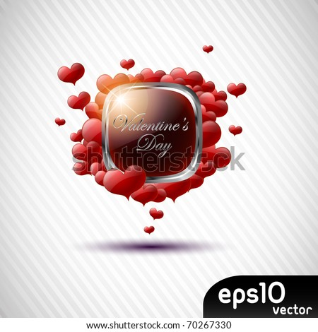 Valentine's day black speech bubble with hearts - stock vector