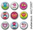 Valentine's day bottlecaps - icons - stock vector