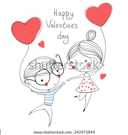 Valentines Day Boy Girl Love Cards Vector 242472844 – Girl Valentine Cards