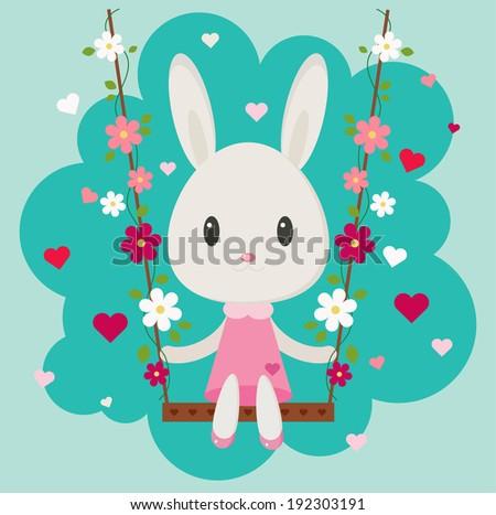 Valentine's Day Bunny - stock vector