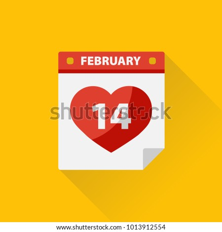 Valentine's Day calendar with heart.