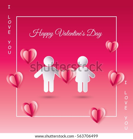 Valentine's day calligraphy gift card with paper cut heart shape men and woman on pink background. Romantic Holiday Love vector Print. Invitation, Anniversary Wedding card, advertising, silhouette