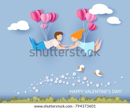Valentine's day card. Abstract background with couple in love flying, hearts balloons and blue sky. Vector illustration. Paper cut and craft style.