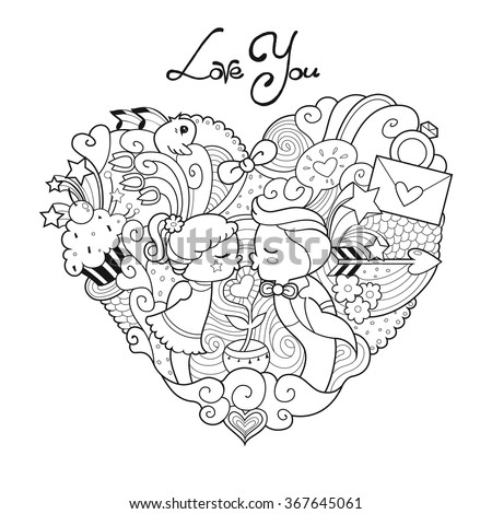 Valentine's day card. Adult coloring page with boy and girl, romantic kiss, love letter and spring flowers and birds. Vector EPS 10. - stock vector