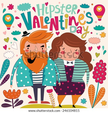 Valentine's Day card. Cartoon card - stock vector